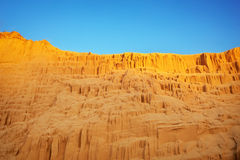 Beautiful sand pit with lines on the golden sand Stock Photo