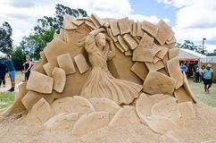 Beautiful Sand Sculpture `Card Soldiers` in Wonderland exhibition, at Blacktown Showground. stock photos