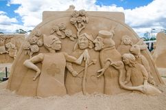 Beautiful Sand Sculpture `Croquet Game` in Wonderland exhibition, at Blacktown Showground. SYDNEY, AUSTRALIA – On January 14, 2018. – Beautiful royalty free stock images