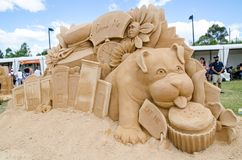 Beautiful Sand Sculpture `Hall of Doors` in Wonderland exhibition, at Blacktown Showground. SYDNEY, AUSTRALIA – On January 14, 2018. – Beautiful royalty free stock images