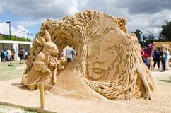 Beautiful Sand Sculpture `Rabbit Hole` in Wonderland exhibition, at Blacktown Showground. royalty free stock photo