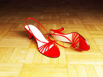 Beautiful sandals on the brown parquet Stock Photography