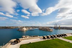 La Valetta capital city Malta. Beautiful sandstone architecture cistyscape of La Valetta capital city of Malta island. Beautiful landscape in south Europe Stock Photos