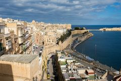 La Valetta capital city Malta. Beautiful sandstone architecture cistyscape of La Valetta capital city of Malta island. Beautiful landscape in south Europe Stock Image