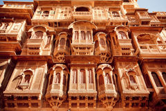 Beautiful sandstone balconies, India Royalty Free Stock Photography
