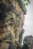 Beautiful sandstone craved on the lintel, doorway and windows of. Lord Krishna killing Lion in Bapuan Khmer art at Phra That Narai Cheng Weng, Sakon Nakhon Royalty Free Stock Photography