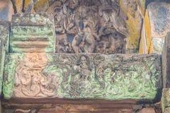 Beautiful sandstone craved on the lintel, doorway and windows of. Lord Krishna killing Lion in Bapuan Khmer art at Phra That Narai Cheng Weng, Sakon Nakhon Royalty Free Stock Image