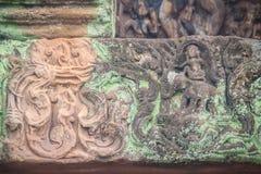 Beautiful sandstone craved on the lintel, doorway and windows of. Lord Krishna killing Lion in Bapuan Khmer art at Phra That Narai Cheng Weng, Sakon Nakhon Royalty Free Stock Images