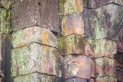 Beautiful sandstone craved on the lintel, doorway and windows of. Lord Krishna killing Lion in Bapuan Khmer art at Phra That Narai Cheng Weng, Sakon Nakhon Royalty Free Stock Photos