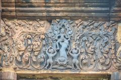 Beautiful sandstone craved on the lintel, doorway and windows of. Lord Krishna killing Lion in Bapuan Khmer art at Phra That Narai Cheng Weng, Sakon Nakhon Stock Image