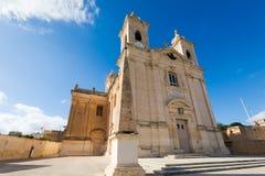 Sandsone catholic architecture of Malta. Beautiful sandstone sacral architecture cistyscape of Malta island. Beautiful landscape in south Europe Royalty Free Stock Photography