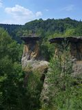 Beautiful sandstone tower formations in czech republic Royalty Free Stock Photo