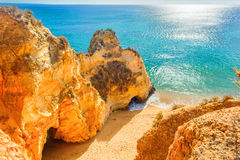 Free Beautiful Sandy Beach Among Rocks And Cliffs Near Lagos, Algarve Region, Portugal Stock Photos - 93454423
