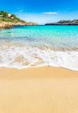 Stunning beach with turquoise sea water. Beautiful sandy beach at the bay of Cala Marcal on Majorca island, Spain Mediterranean Sea, Mallorca Balearic Islands Royalty Free Stock Photography