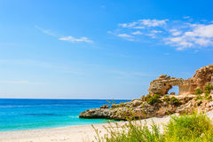 Beautiful sandy beach with a cliff. ionian sea in Dhermi, Albania royalty free stock images