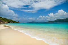 Beautiful sandy beach of Curieuse Island. Seychelles. royalty free stock image