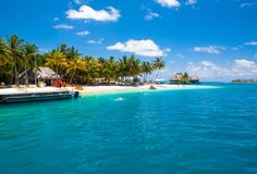 Free Beautiful Sandy Beach In The Shade Of Palms For Water Sport Stock Photography - 109753552