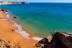 Golden sandy beach in the Algarve, Portugal stock photos
