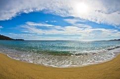 Beautiful sandy beach at small greek village Toroni in Sithonia Stock Photography
