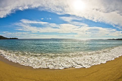 Beautiful sandy beach at small greek village Toroni in Sithonia Royalty Free Stock Photography