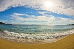 Beautiful sandy beach at small greek village Toroni in Sithonia Royalty Free Stock Photos
