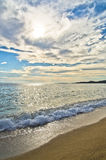 Beautiful sandy beach at small greek village Toroni in Sithonia Royalty Free Stock Photo