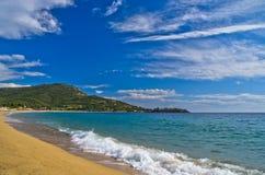 Beautiful sandy beach at small greek village Toroni in Sithonia Royalty Free Stock Image