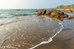 Beautiful sandy beach with  stones Royalty Free Stock Images