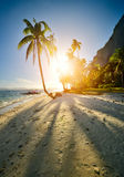 The beautiful sandy beach at sunset on the island in El Nido. Ph Royalty Free Stock Images