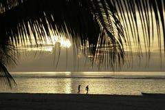 A beautiful sandy beach with wonderful sunset. Couple on a beautiful sandy beach with wonderful sunset Royalty Free Stock Photo