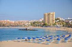 Beautiful sandy De Las Vistas beach on tenerife island. Royalty Free Stock Images
