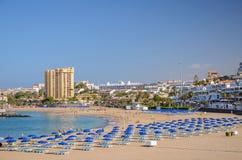 Beautiful sandy De Las Vistas beach on tenerife island. Stock Photo