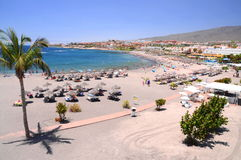 Beautiful sandy  Playa de Torviscas in Adeje on Tenerife Royalty Free Stock Photography