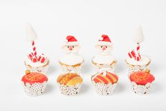 Beautiful santa claus cupcakes, mushroom, new year christmas Stock Photos