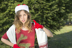 Beautiful Santa Claus girl with fir tree branch Stock Image