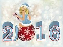Beautiful santa claus girl new 2016 year card Royalty Free Stock Photos