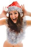 Beautiful santa claus woman royalty free stock photography