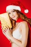 Beautiful santa claus woman Royalty Free Stock Photo