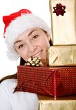 Beautiful santa with gifts Stock Image