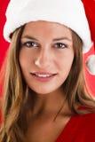 Beautiful Santa Girl. Close-up of a beautiful and sweet Santa Girl Stock Image