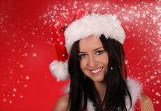 Beautiful Santa girl Royalty Free Stock Images