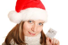 Beautiful Santa girl with a gift box Stock Photo