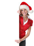 Beautiful Santa girl holding b Stock Photography
