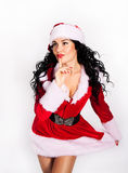 Beautiful Santa Girl. Isolated on white Royalty Free Stock Photography