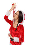 Beautiful Santa girl with pearl necklace Stock Photo