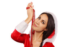 Beautiful Santa girl with pearl necklace Royalty Free Stock Photo