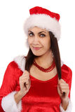 Beautiful Santa girl with pearl necklace. Beautiful adult Santa girl with pearl necklace Royalty Free Stock Image