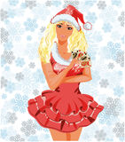 Beautiful Santa girl with poker cards Royalty Free Stock Photo