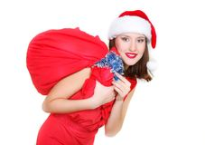 Beautiful santa girl with presents. Over white Royalty Free Stock Photos