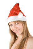 Beautiful santa girl and snowfall. Isolated on white background Royalty Free Stock Photos